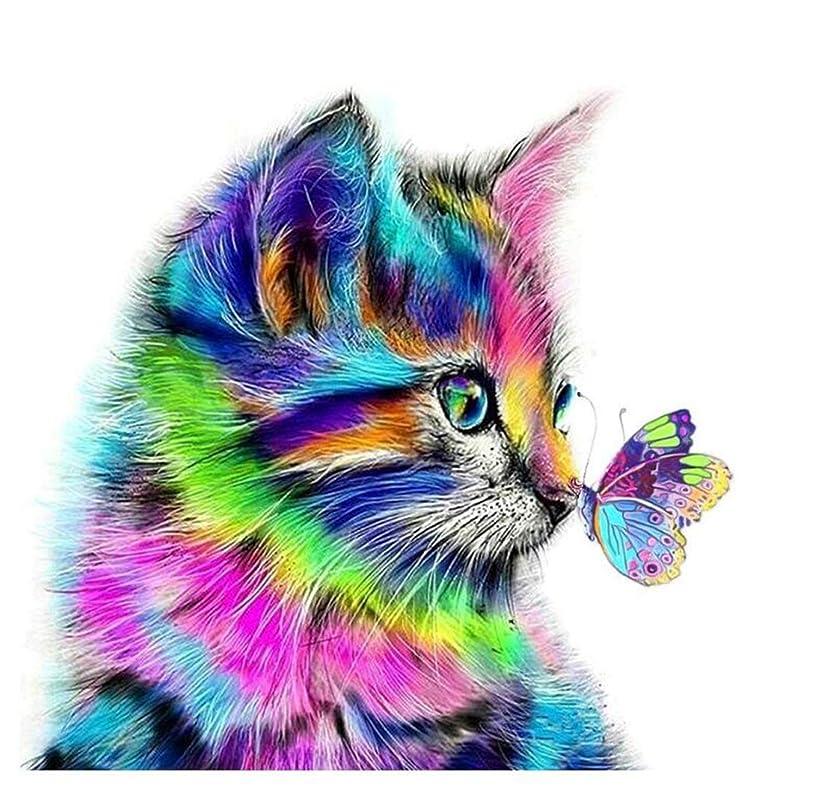 DIY Diamond Pianting Kits for Kids Diamond Dotz Diamond Drawing (Colorful cat, 30x30cm)