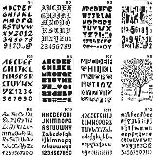 Plastic Number and Letter Stencils Templates Set for Painting and Crafts Set of 12