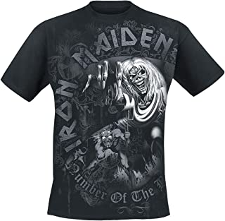 Iron Maiden Number of The Beast Grey Tone Hombre Camiseta Negro, Regular