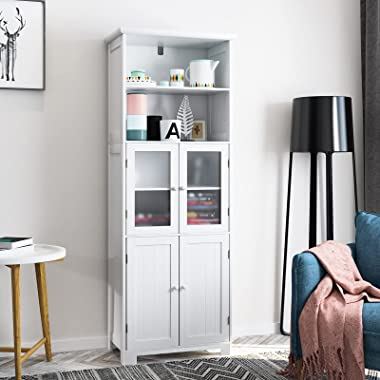 """Tiptiper Tall Bathroom Storage Cabinet, Large Floor Cabinet with 2 Open Compartments and 2 Cabinets with Doors, 64"""" Height Fr"""