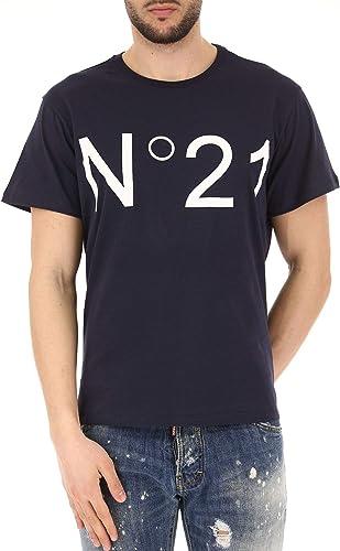 N°21 Homme F02163636204 Bleu Coton T-Shirt