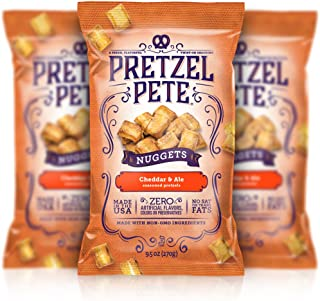 Pretzel Pete Seasoned Pretzel Nuggets, Cheddar & Ale, 9.5 Ounce Bag (Pack of 3)