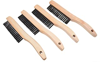 HAN SHENG 12 Pcs Scratch Brushes Stainless Steel Wire Brushes with Wood Handle for Cleaning Rust