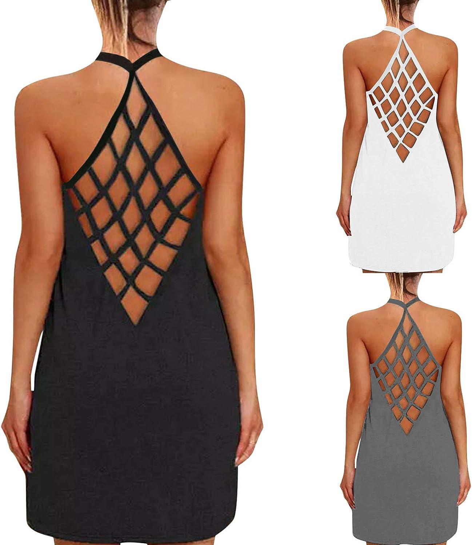 Boho Dress for Women Short,Women's Summer Sleeveless Casual Dresses Criss Cross Hallow Out Open Back Mini Dress Sundress