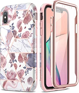 SURITCH Marble iPhone Xs Max Case, [Built-in Screen Protector] Natural Marble Full-Body Protection Shockproof Rugged Bumper Protective Cover for iPhone Xs Max Case 6.5 inch (Rose Marble)