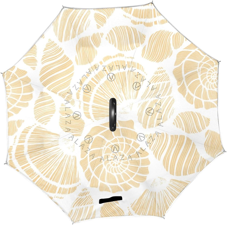 U LIFE Ocean Sea Beige Aquatic Seashells Reverse Ingreened Sun Rain Umbrellas for Car Outdoor Use With C-shaped Handle