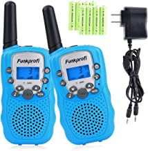 Funkprofi Walkie Talkies for Kids 22 Channels Long Range Rechargeable Walkie Talkies with Battery and Charger, Gift for Boys and Girls, 1 Pair (Blue)