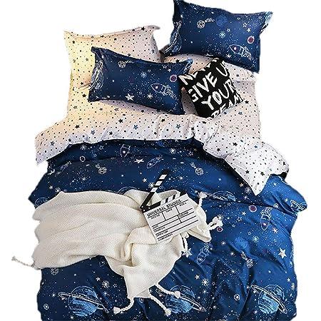 Geometry Grid Decor Duvet Cover Galaxy Series Bedding Set Twin Size for Boys Teens Kids Bedroom Decor Comforter Cover Set Starry Sky Planet Lattice Pattern Soft Microfiber Reversible Quilt Set