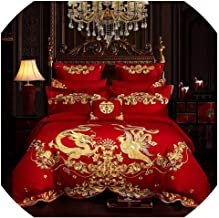 NanPing Luxury Red 100% Cotton Gold Phoenix Loong Rose Embroidery Chinese Wedding Bedding Set Duvet Cover Bed Sheet Bedspread Pillowcase,1,Queen Size 4pcs,Bed Sheet Style