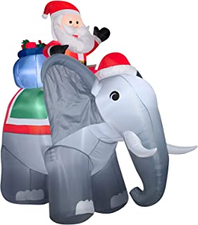 inflatable elephant with santa