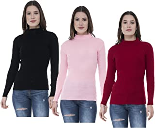 IndiWeaves Women's Wool Turtle Neck Sweater (Pack of 3) (10110-040612-IW-R-P3 -FREE_Multicoloured_Free Size)