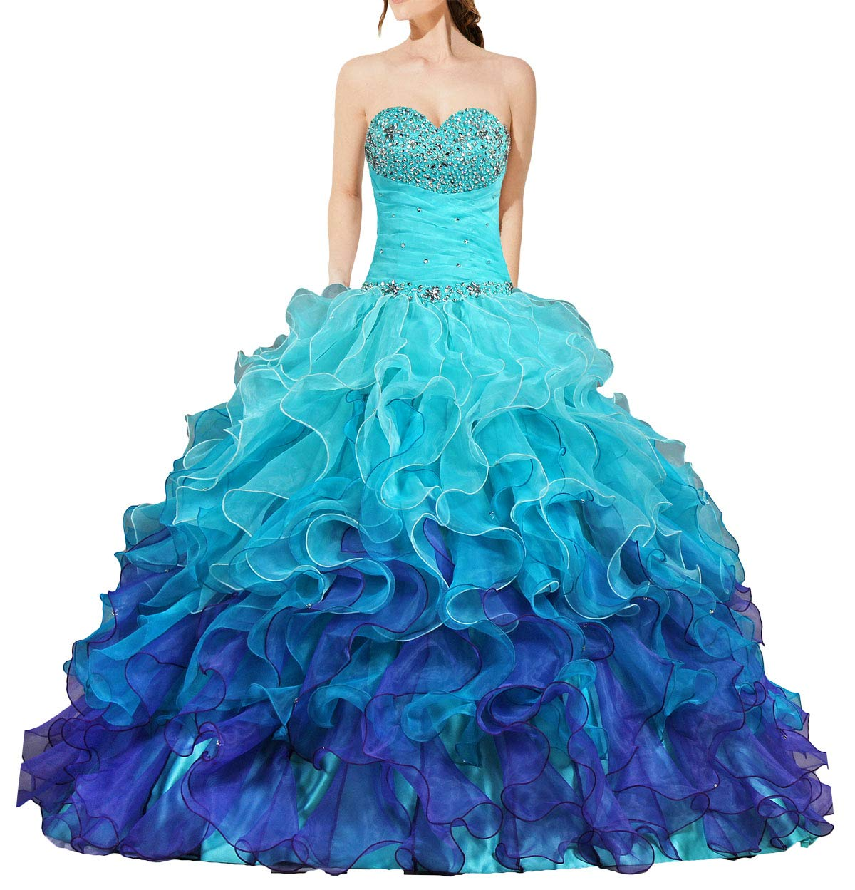 Available at Amazon: ANTS Women's Gorgeous Strapless Rainbow Quinceanera Dresses Ruffle Prom Gowns