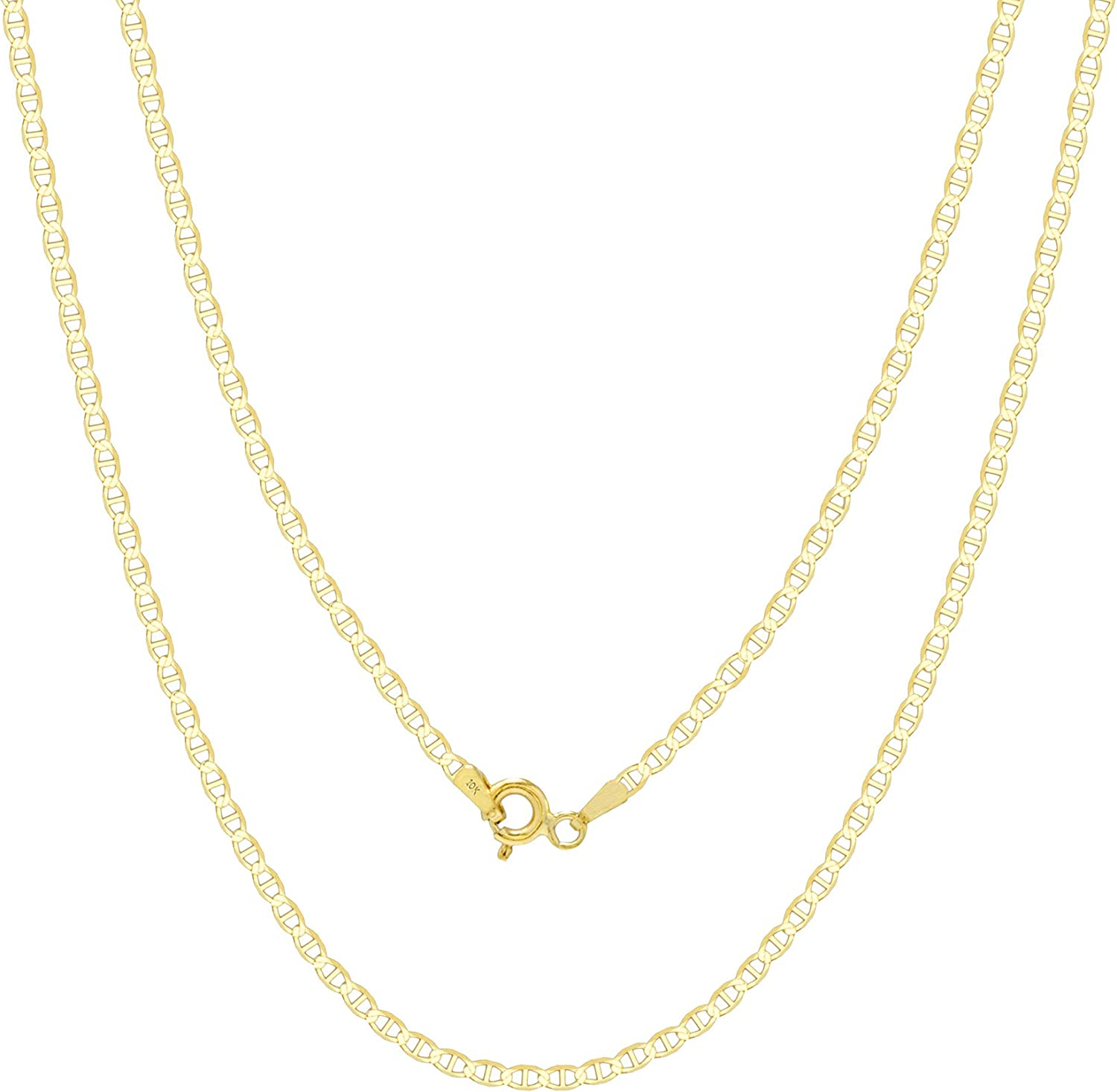 Nuragold 10k Yellow Gold Solid 2mm Anchor Mariner Link Chain Pendant Necklace, Womens Mens Jewelry 16