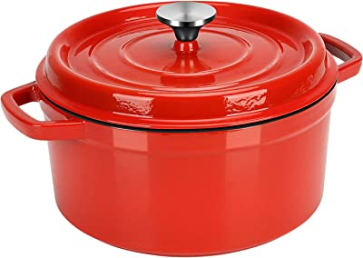 Dutch Oven Red,Enameled Cast Iron Dutch Oven with Lid, 5.25 Quart Round Nonstick Enamel Cookware Crock Pot,Dutch Oven with Dual Handle and Cover Casserole Dish 24cm