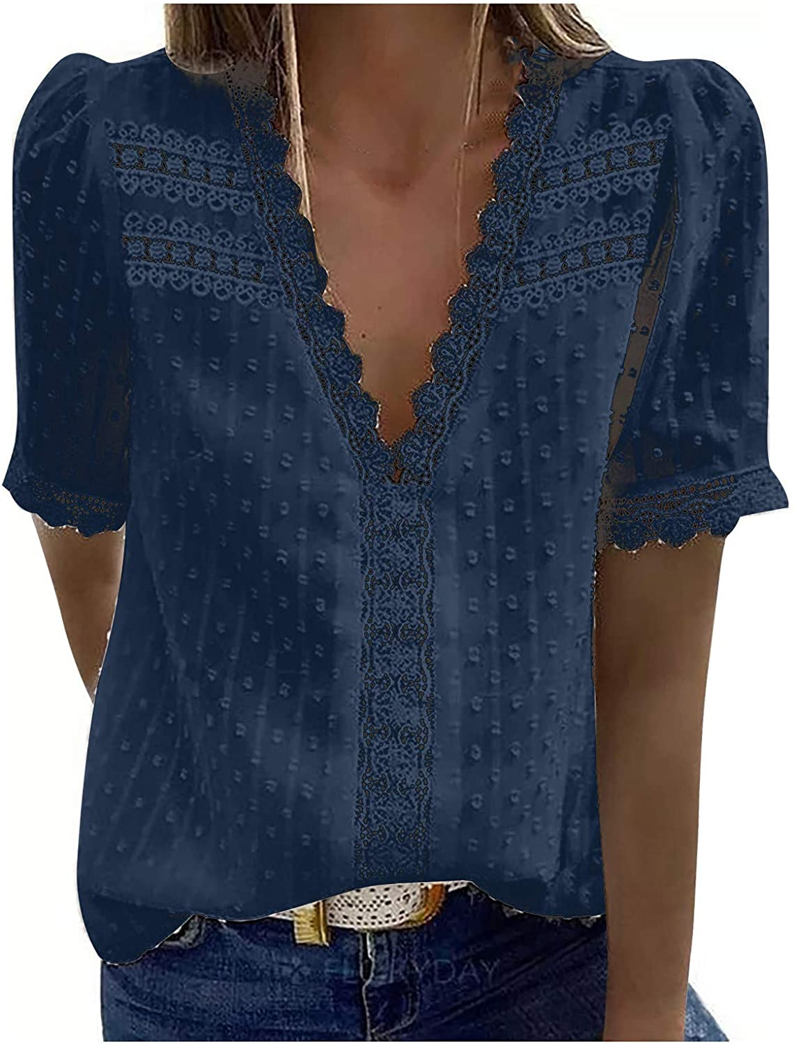 Jaqqra Summer Tops for Women, Womens Short Sleeve Tops Sexy Soild Color V-Neck T-Shirts Flowy Blouse Tops Tunic Tee