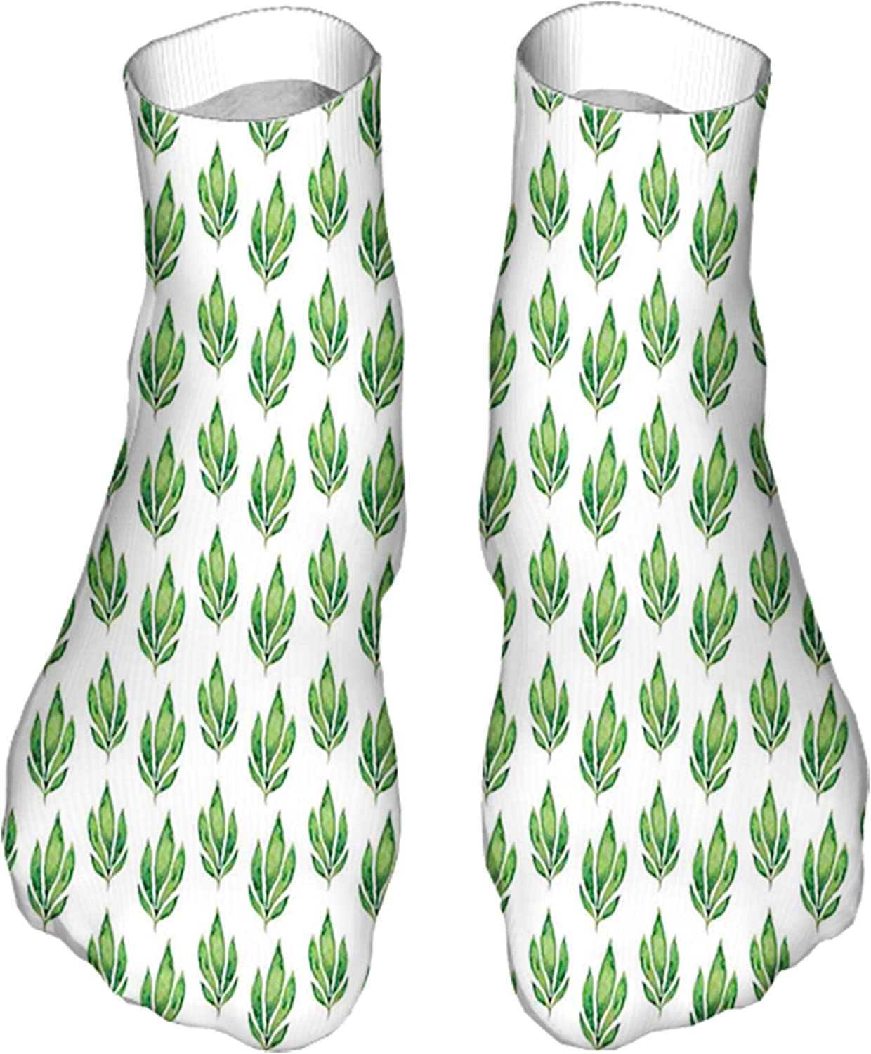 Women's Colorful Patterned Unisex Low Cut/No Show Socks,Herbal Pattern with Watercolor Foliage Tropical Nature