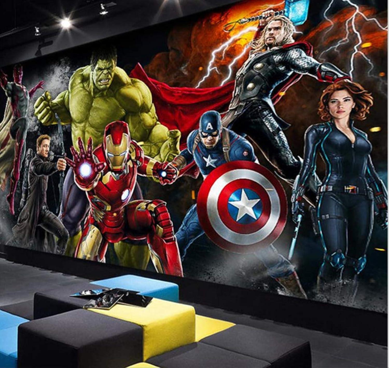 3d Avengers Photo Wallpaper Hulk Iron Man Captain America Mural Boys Bedroom Breite 200cm  Height140cm pro