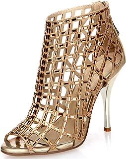 Littleboutique Women Embellished Cutout High Heel Bootie Rhinestone Sandal Heels Dress Sandals