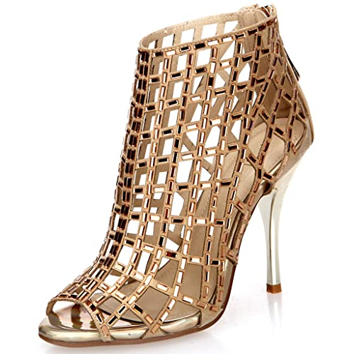 d620854b218684 Littleboutique Embellished Cutout High Heel Bootie Rhinestone Studded  Sandal Heels Dress Sandal