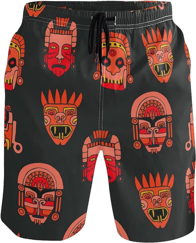 ADAKing Beach Shorts African Ethnic Tribal Human Quick Dry Sports Swim Trunks Running Mesh Lining Board Shorts for Man Boys
