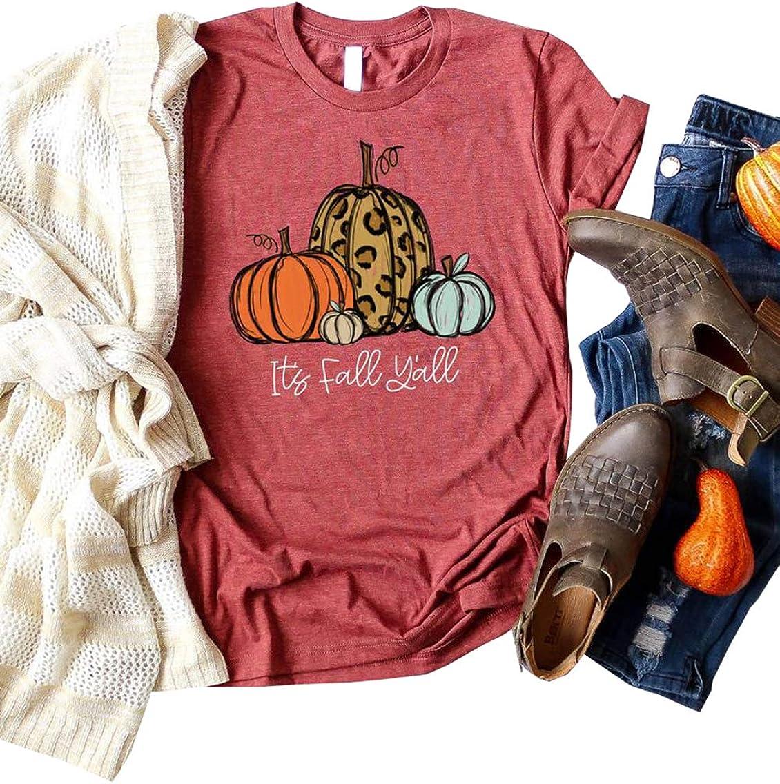Halloween Pumpkin Shirt Women Plaid Leopard Graphic Tees Funny Cute Short Sleeve Fall Shirt Thanksgiving Gift Tops