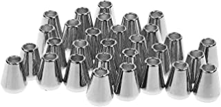 BCP 30 Pieces Conical Bell Metal Cord Rope Locks Fastener Ends Stopper for Lanyard Backpack Bag (Silver Color)