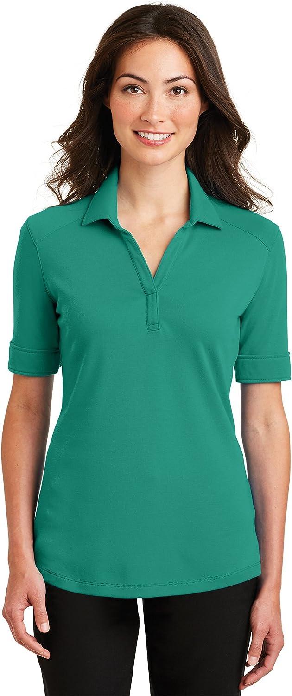 Port Authority Women's Rmk Ladies Silk Touch Interlock Performance Polo Black Training Shirts (Pack of 36)