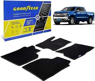 Goodyear Custom Fit Car Floor Mats for Chevy Silverado 1500 2019-2020 Crew Cab, Black/Black 4 Pc. Set, All-Weather Diamond...