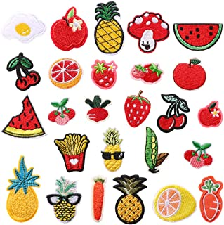 Soleebee 23 Pcs Random Iron-on or Sew-on Patches Applique Accessories Hand Embroidered Patches Set for DIY Clothes, Jeans, Bag, Shoes (Cartoon Food)