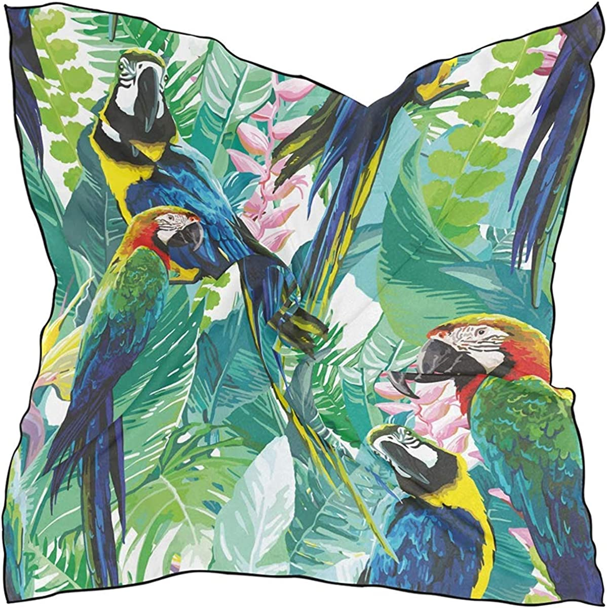 Multipurpose Headpiece Head scarf drink Fashion Silk Scarf Colorful Parrots And Exotic Flowers for Women Large Square Satin kerchief
