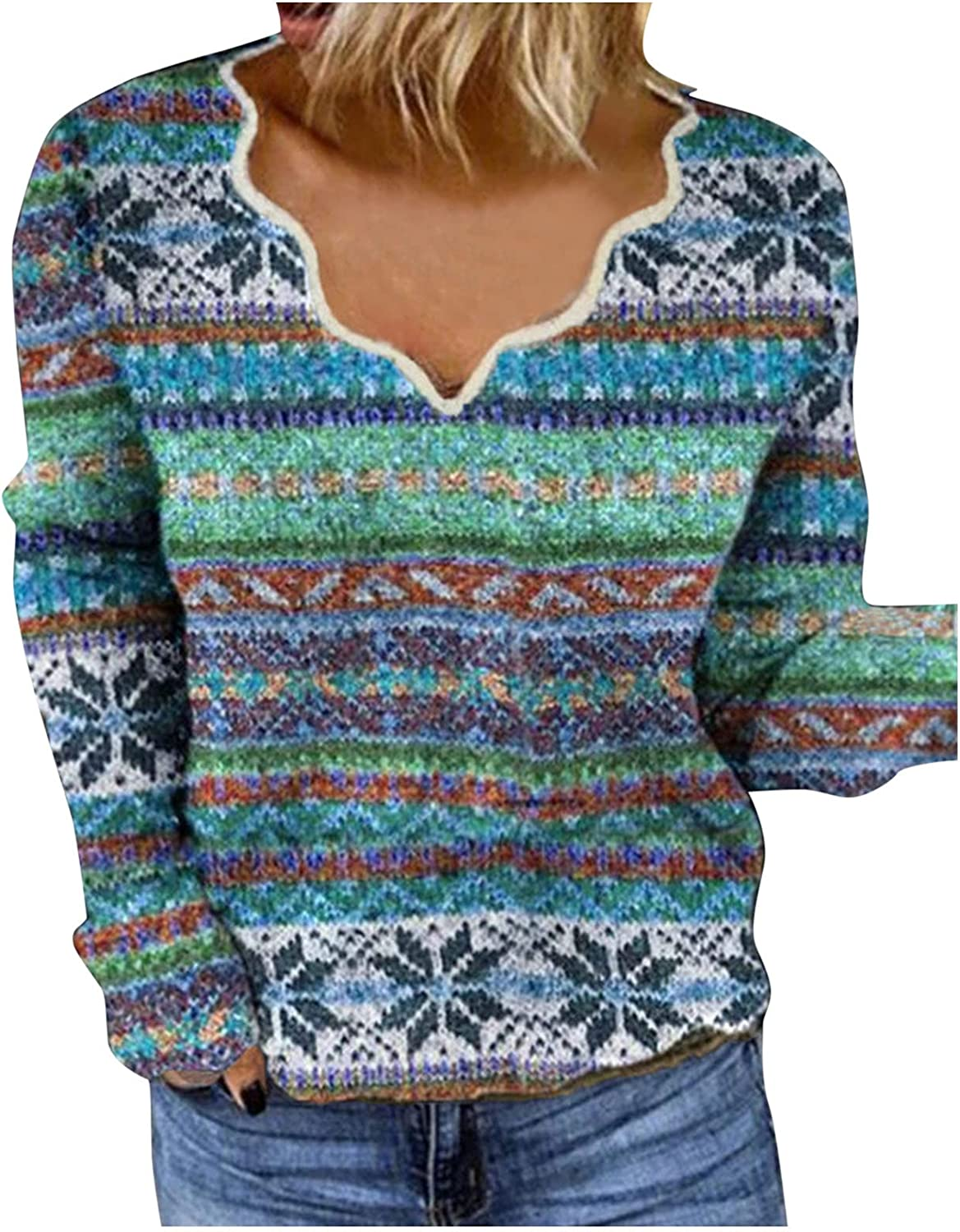 Women V Neck Boho Printed Sweater Stripe Sleeve Fleece Animer and price revision Long Max 61% OFF