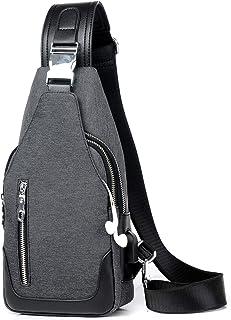 FANDARE Nuovo Monospalla Uomo Zaino Monospalla Borsello da Uomo con USB Borsa a Tracolla Borsa Sportiva Sling Bag,Treeking...