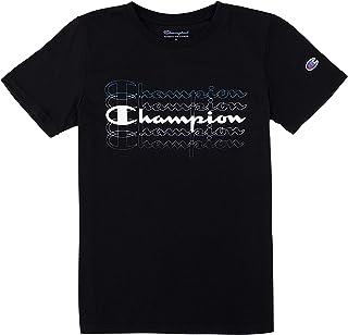 Champion Boys Heritage Short Sleeve Cotton Logo Tee Kids (Black Multi Script, Large)