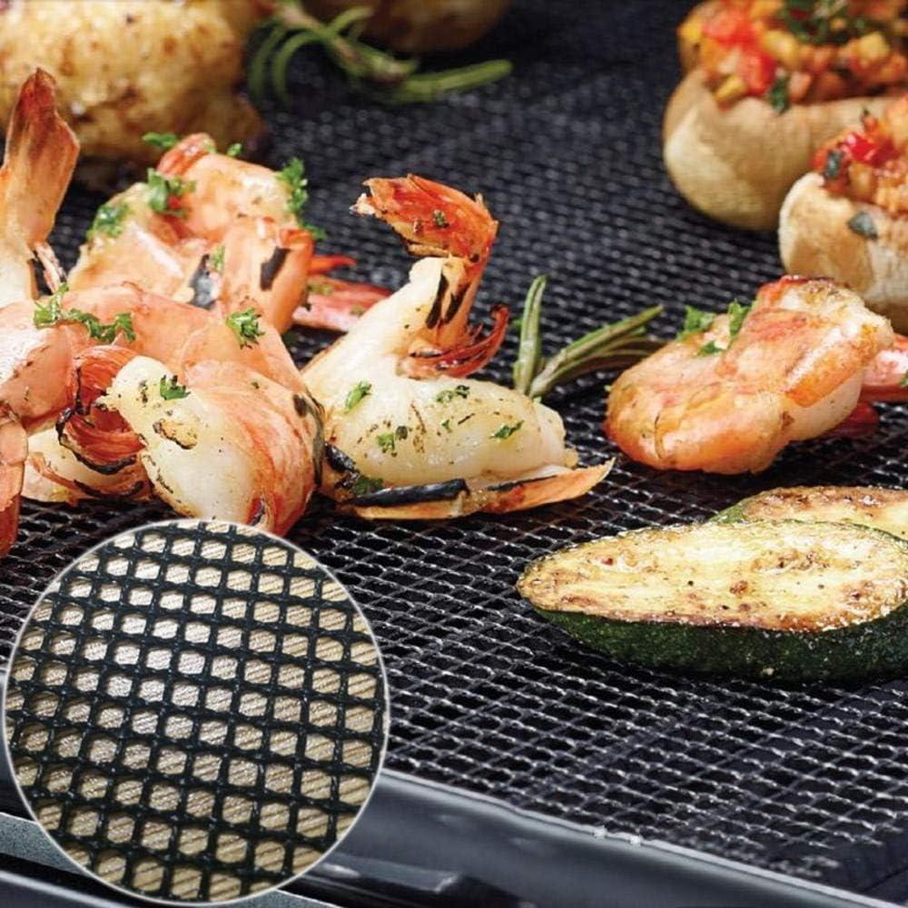 Generies Barbecue antiadhésif 2 pièces,Tapis de Barbecue en Forme de Grille de Haute sécurité avec résistance à la Chaleur 30x40x0,2 cm G215119b