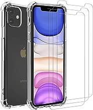 iVoler Funda para iPhone 11 6.1 Pulgadas + [3 Unidades] Cristal Templado Protector de Pantalla, Ultra Fina Silicona Transparente TPU Carcasa Protector Airbag Anti-Choque Anti-arañazos Caso