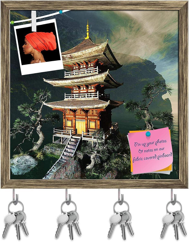 Artzfolio Zen Buddha Temple D3 Key Holder Hooks   Notice Pin Board   Antique golden Frame 20 X 20Inch