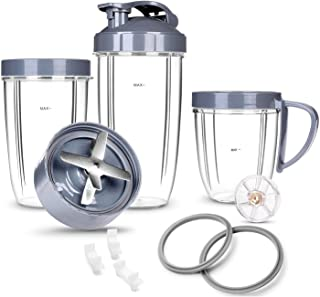 Deluxe Upgrade Parts kit ULTIMATE Cups & Blade &Top Gear & Gaskets & Shock Pad 13-Piece Replacement Set Compatible with NutriBullet High-Speed Blender/Mixer System 600W-900W Series
