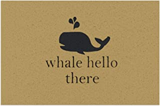 """Whale Hello There Indoor Doormat Non Slip Rubber Backing Entrance Rug Washable Low-Profile Front Door Mat 15.7"""" X 23.6"""" Ou..."""