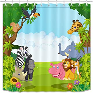 LB Wildlife Safari Shower Curtain Set Kids Bathroom Curtains Cartoon Animals in Jungle Forest Cute Bathroom Decorations with Hooks Waterproof Fabric 72x72 inch
