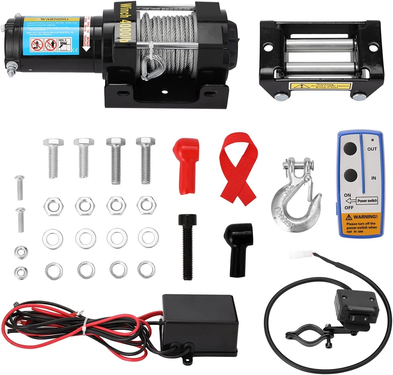 zhuangyif Towing 2021 Winches 4000lbs Electric Winch Recovery Bargain Kit ATV