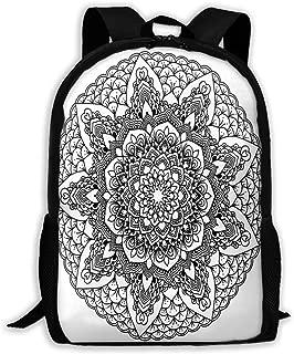 Backpack Mandala Black And White Zipper School Bookbag Daypack Travel Rucksack Gym Bag For Man Women