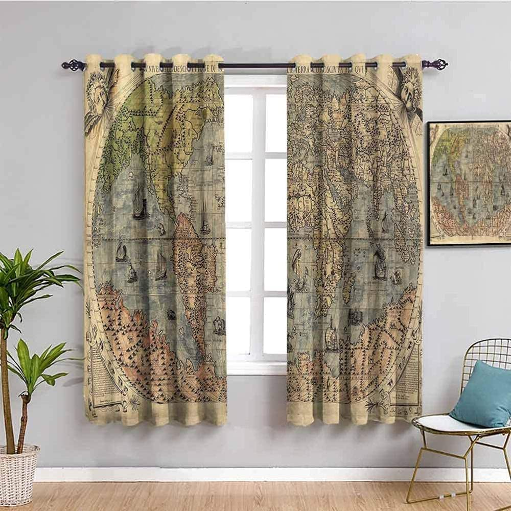 ZLYYH San Jose Mall Blackout Curtains for We OFFer at cheap prices Girls World map Nostal Bedroom Retro