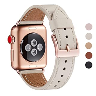 WFEAGL Compatible iWatch Band 40mm 38mm,Top Grain Leather Band with Gold Adapter (The Same as Series 5/4/3 with Gold Aluminum Case in Color) for iWatch Series 5/4/3/2/1(Ivory White+Rosegold Adapter)