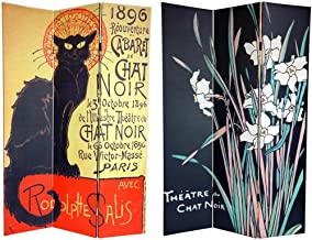 Oriental Furniture 6 ft. Tall Double Sided Chat Noir Room Divider
