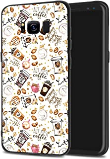 LuGeKe Coffee Cup Print Phone Cases Cover Comic Coffee Bean Cup Cake Design Protector Bumper Scratch Resistant Phone Case for Samsung Galaxy S9