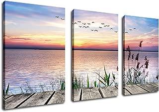 Canvas Wall Art Lake Dock Sunset Flying Birds Wall Art Decor, 3 Pieces x 30
