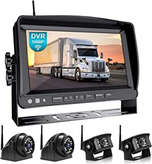 """Fookoo 1080P 9"""" Wireless Backup Camera System Kit, 9"""" HD Quad Split Monitor with Recording, IP69 Waterproof Rear View Side..."""