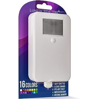 LumiLux - Luz para inodoro con detección de movimiento, 16 colores LED avanzada, memoria interna, detección de luz (blanco)
