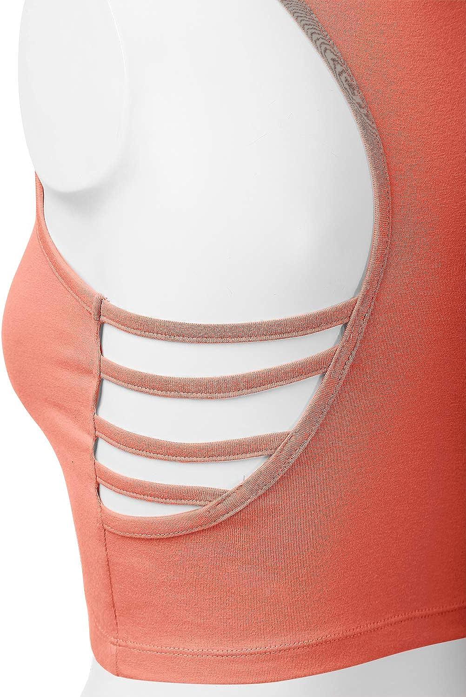 Womens Cotton Scoop Neck Racerback Crop Top Sleeveless Tops