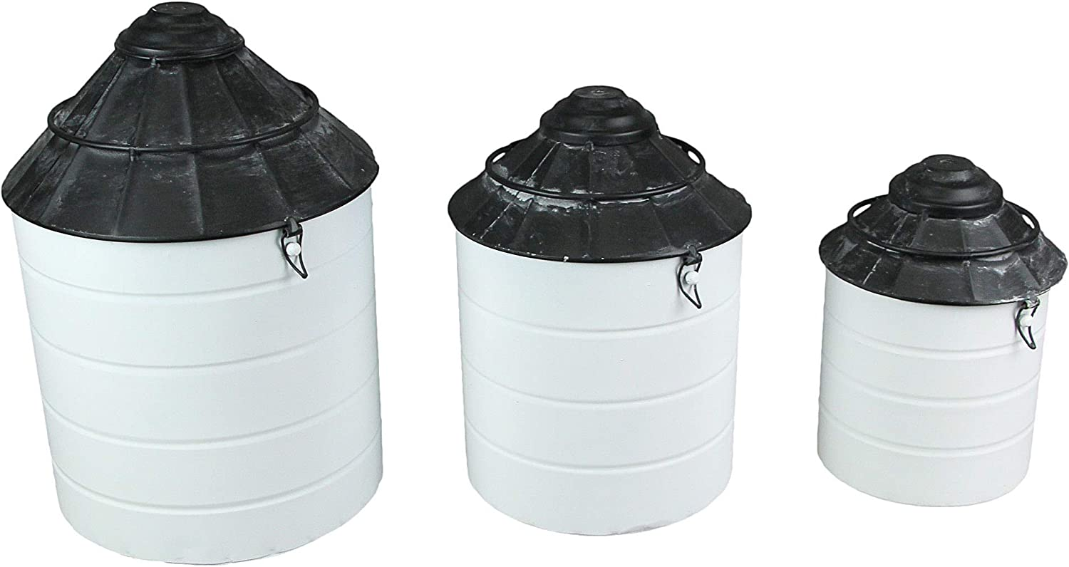 Things2Die4 Set of 3 Black and Soldering Farmhouse 67% OFF fixed price Tin Silo White Vintage
